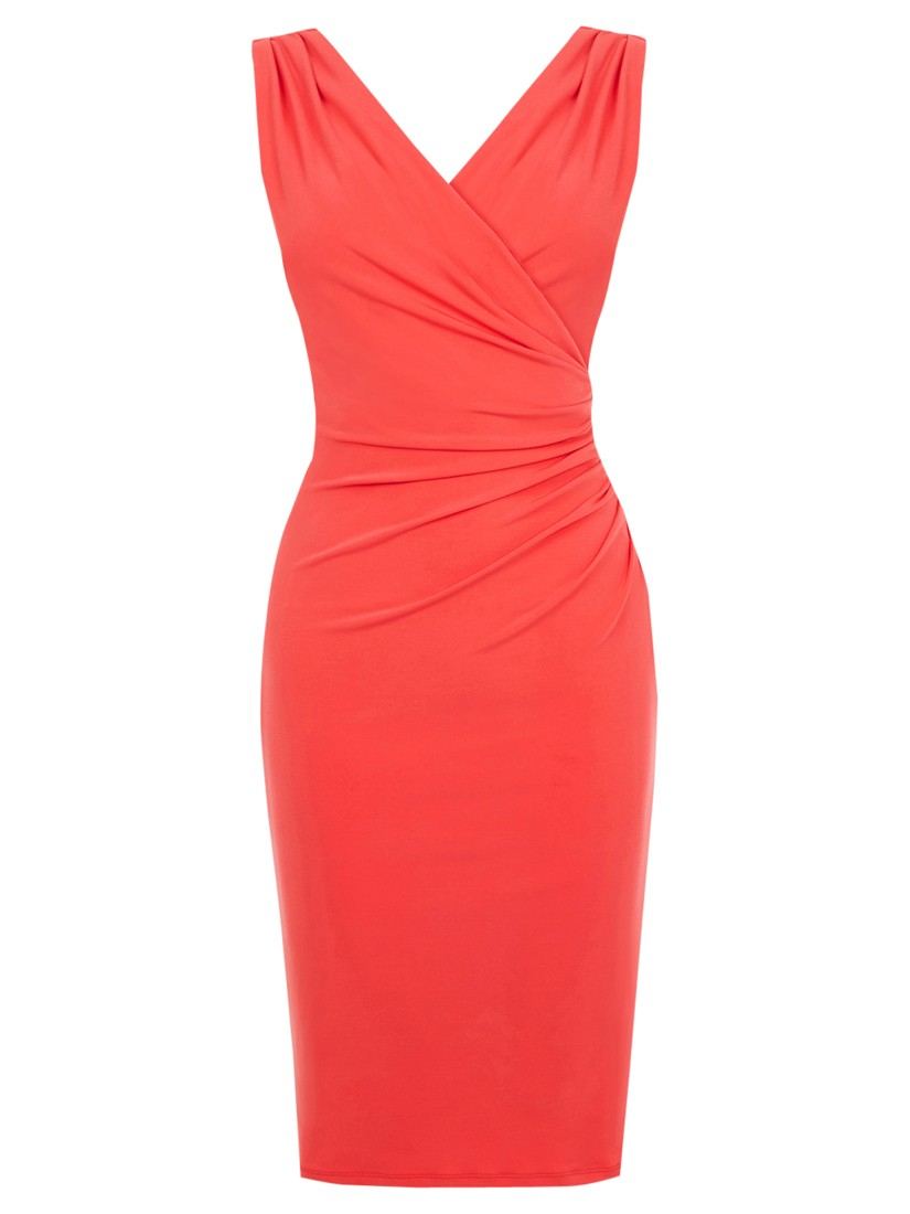 Ruched V-Neck Dresses