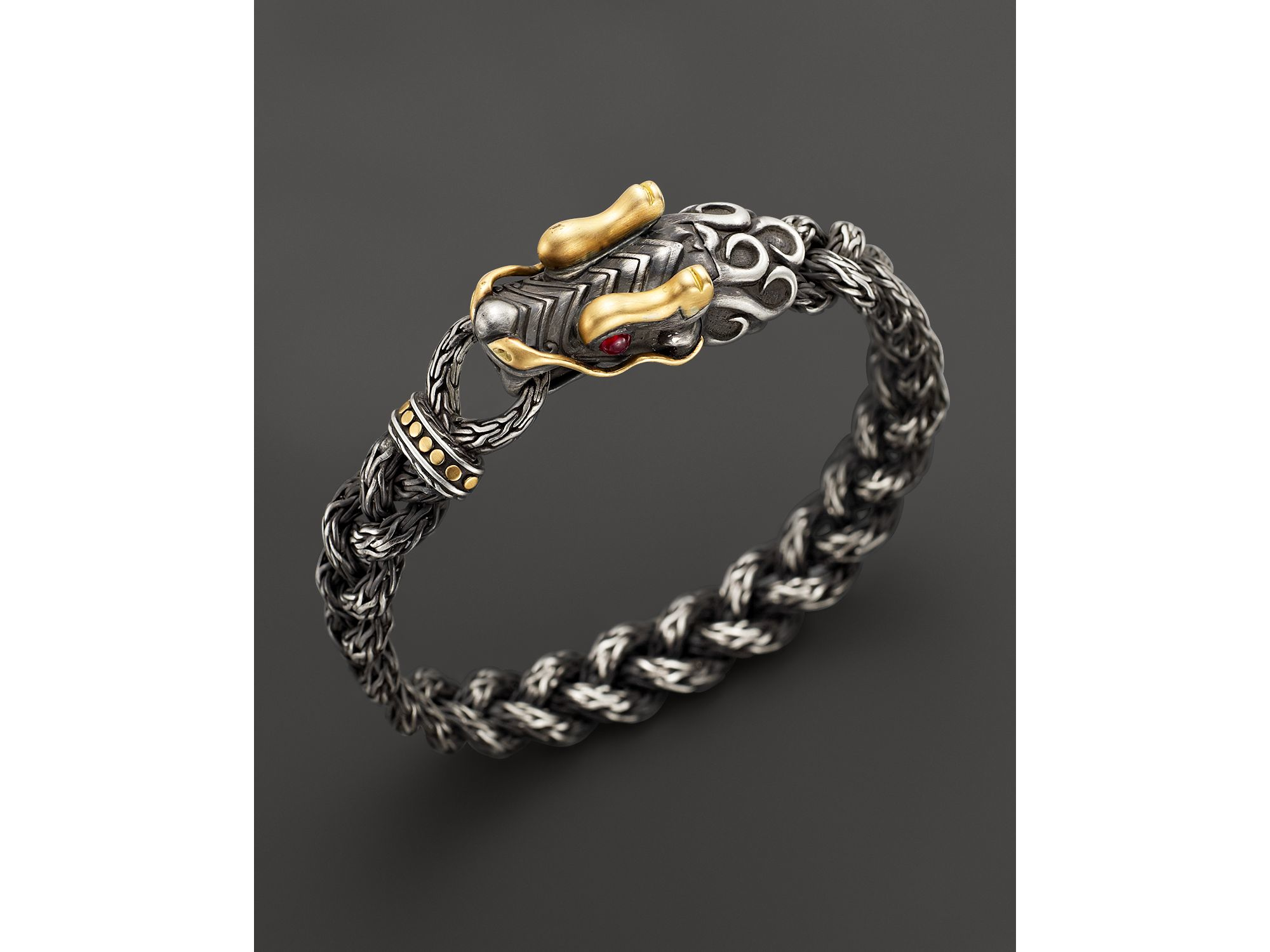 John Hardy Mens Legends Naga Dragon Sterling Silver & 18K Gold Chain Bracelet rGMh37