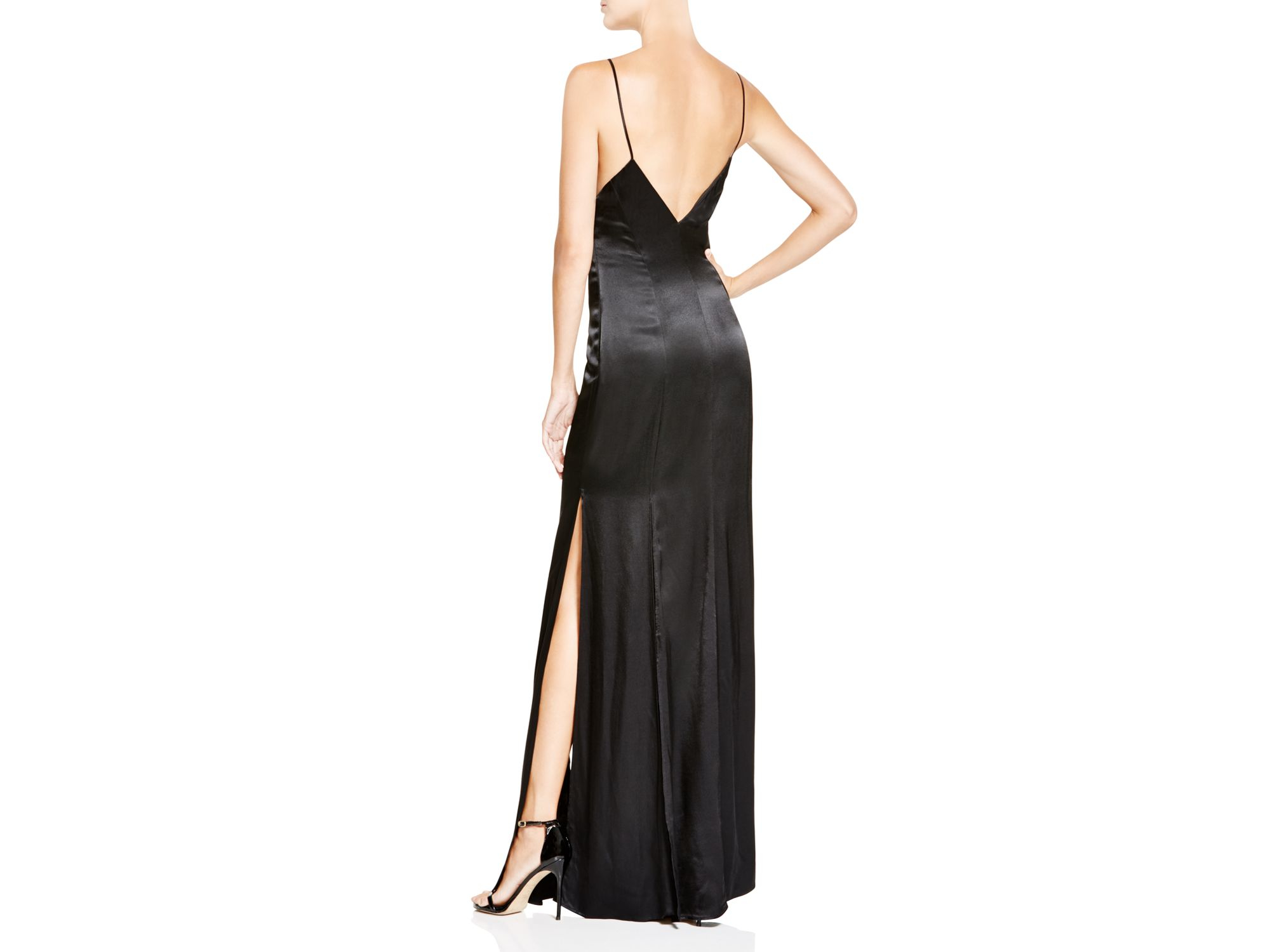 Abs By Allen Schwartz Sleeveless V-neck Dual Slit Gown in Black - Lyst