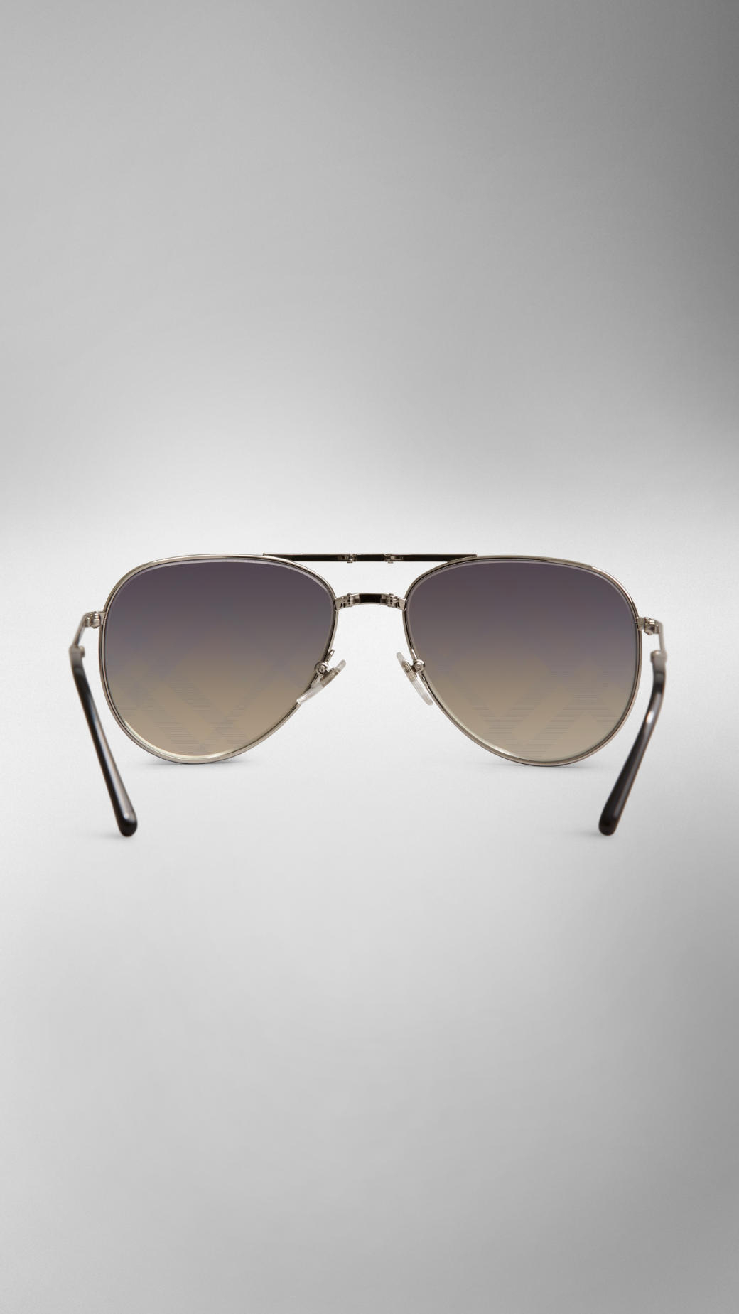 3ef4bf7b3dc Lyst - Burberry Foldable Aviator Sunglasses with Check Lenses in ...