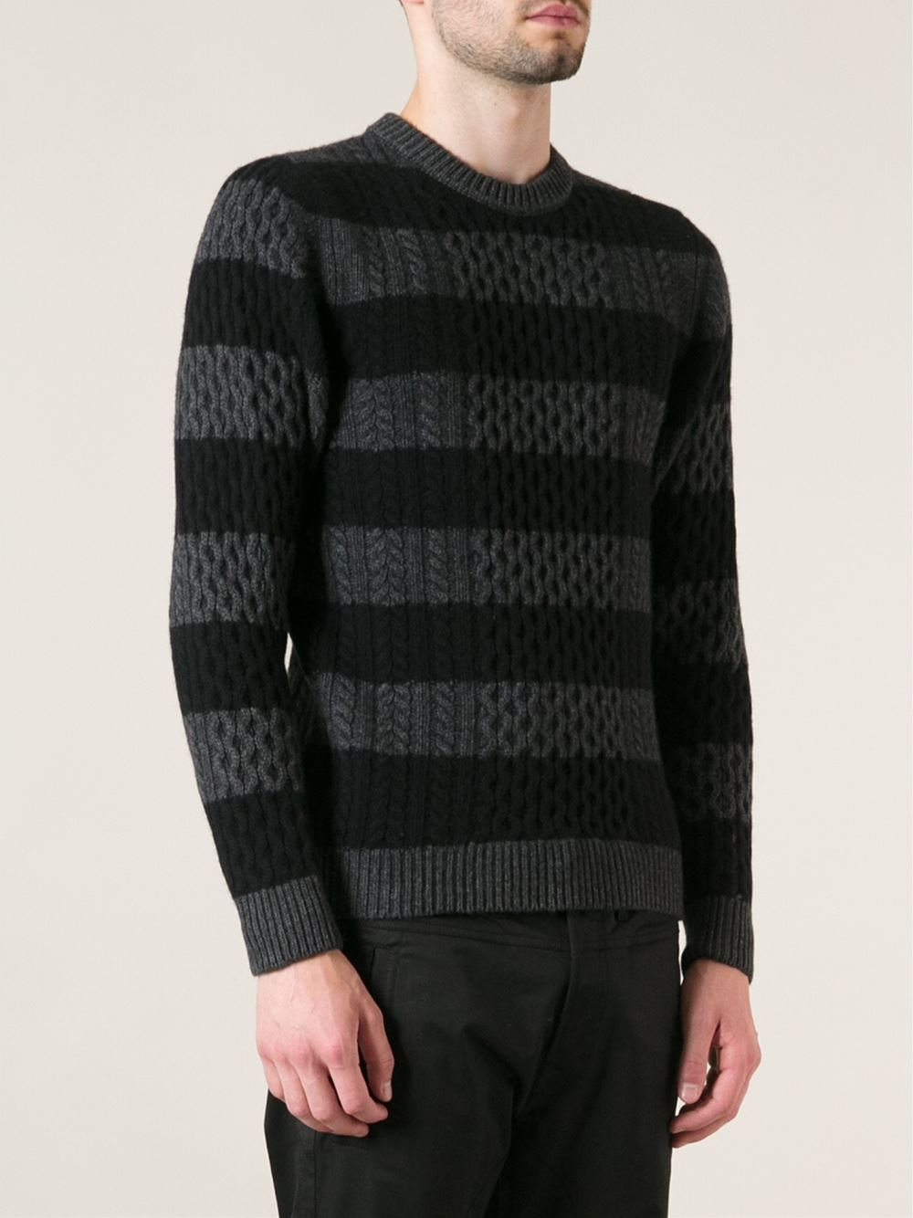 Diesel black gold Striped Cable Knit Sweater in Black for Men | Lyst