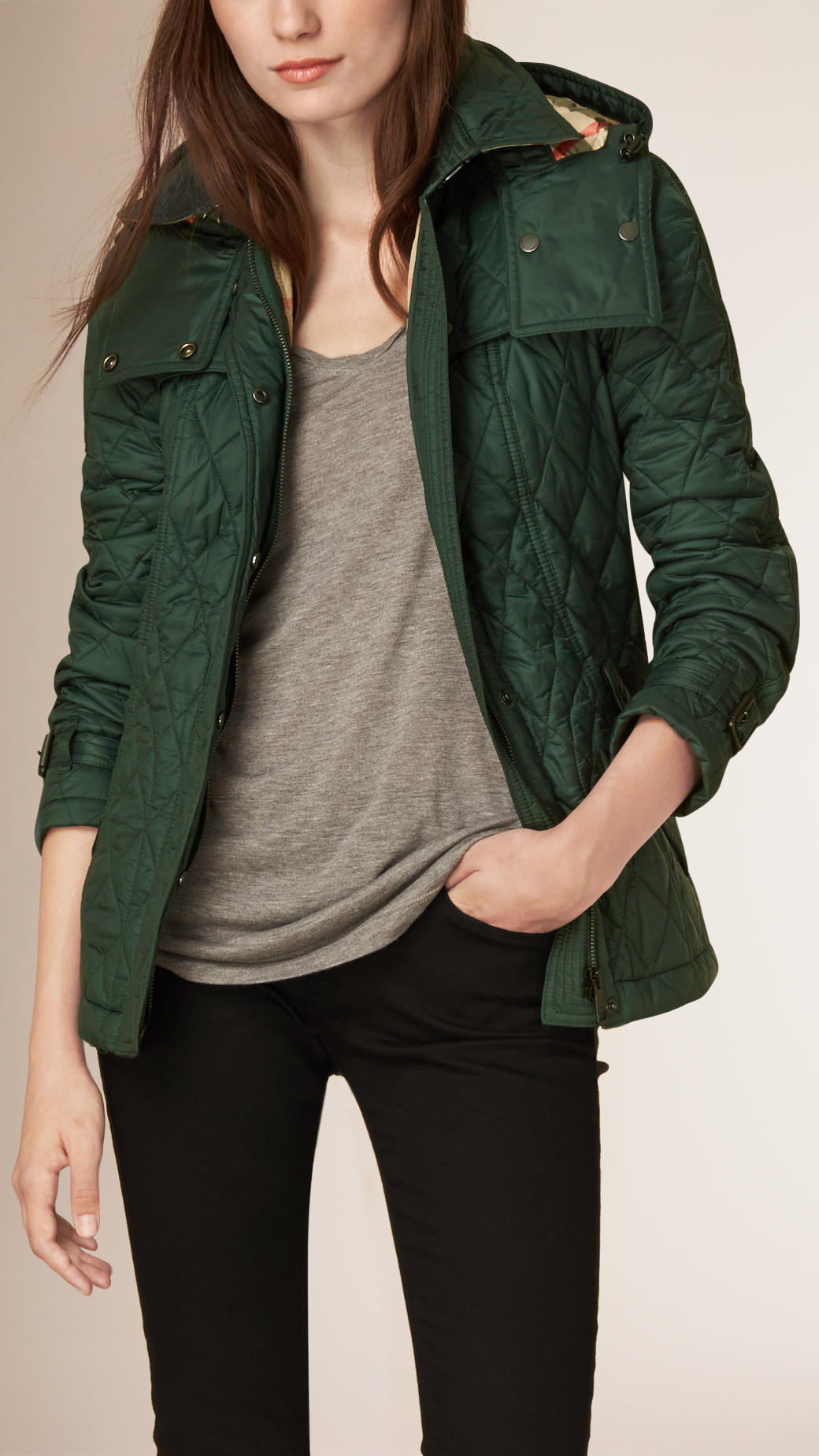 Burberry Diamond Quilted Jacket In Green Lyst