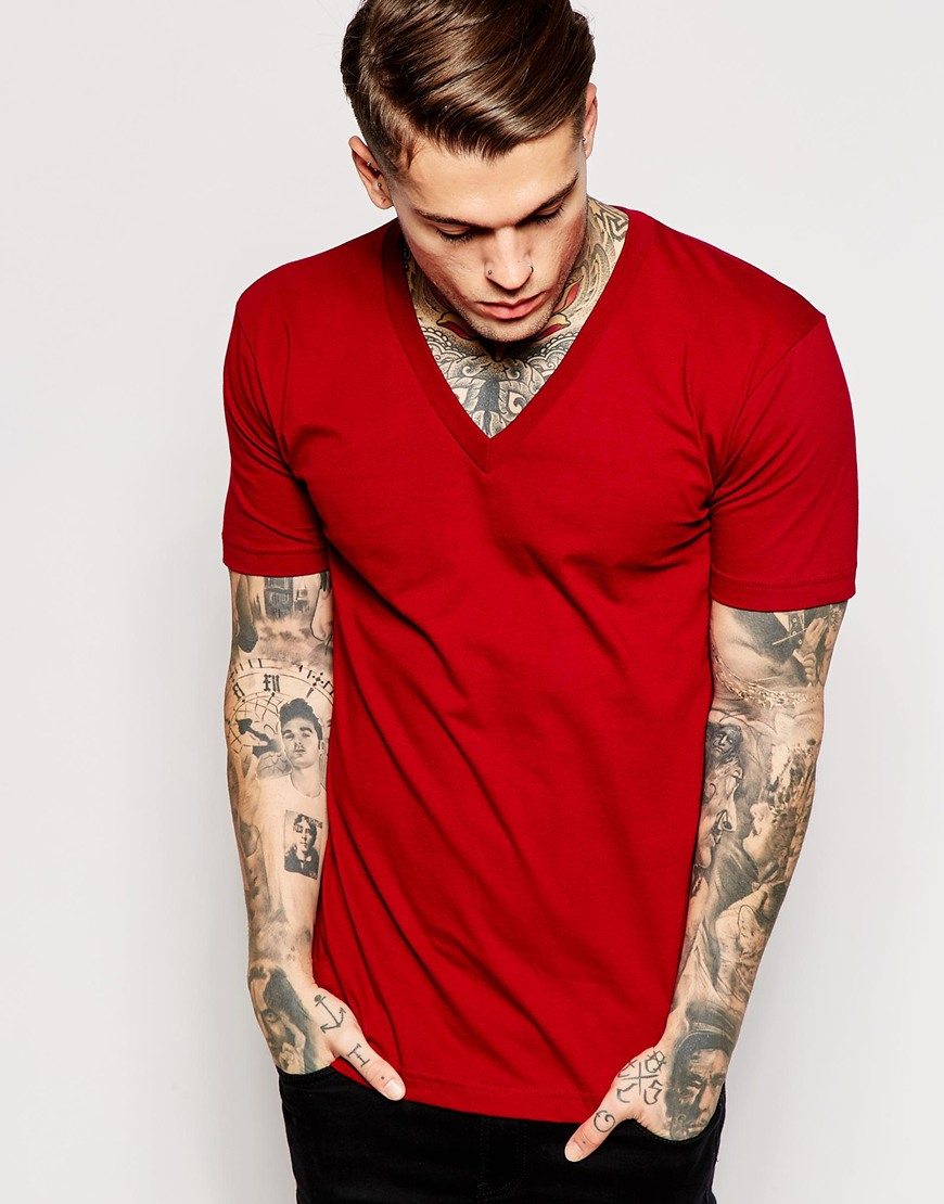 Lyst american apparel fine jersey v neck t shirt in red for American apparel custom t shirts