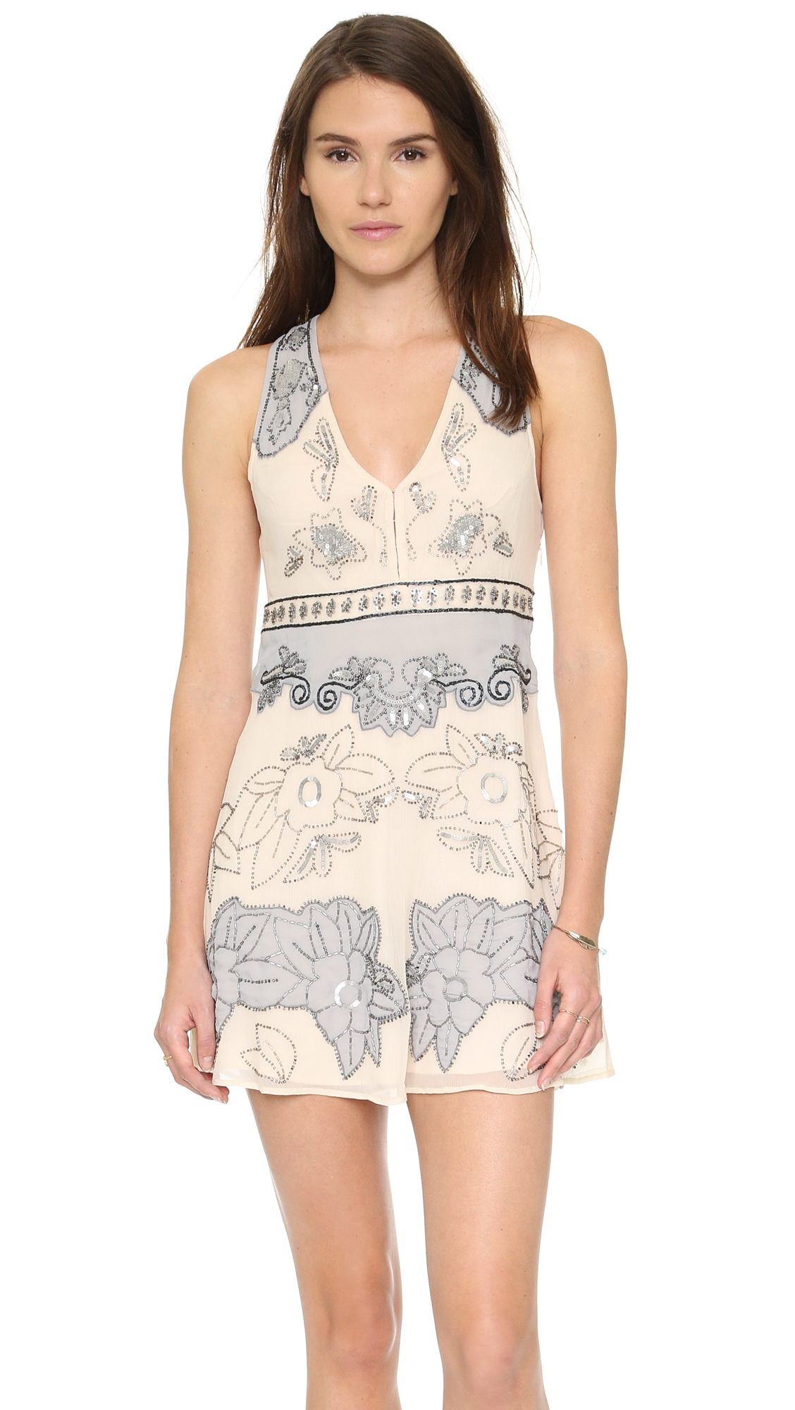 Free People Last Flowers Embellished Mini Dress In Natural Lyst