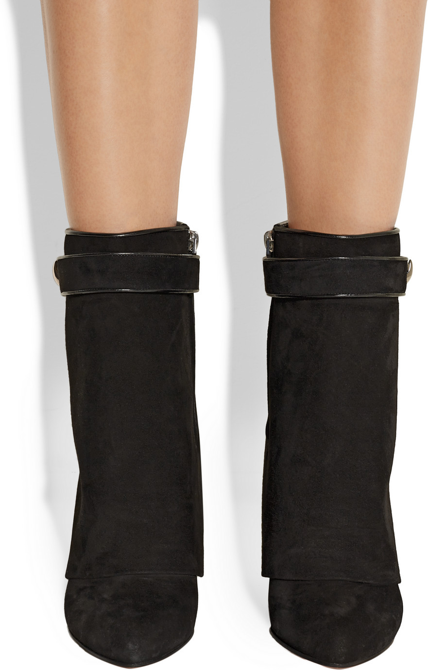 Lyst - Givenchy Shark Lock Black Suede Wedge Ankle Boots in Black facb746956
