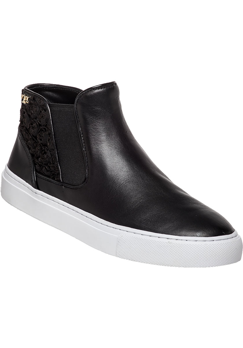 ce2c0c096bb48 Lyst - Tory Burch Rosette High Top Sneaker Black Leather in Black