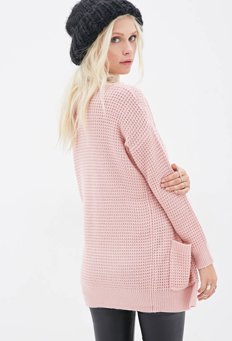 Forever 21 Classic Longline Knit Cardigan in Pink | Lyst