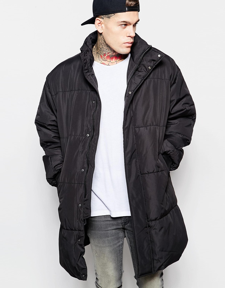 Asos Oversized Quilted Parka Jacket In Black in Black for Men | Lyst
