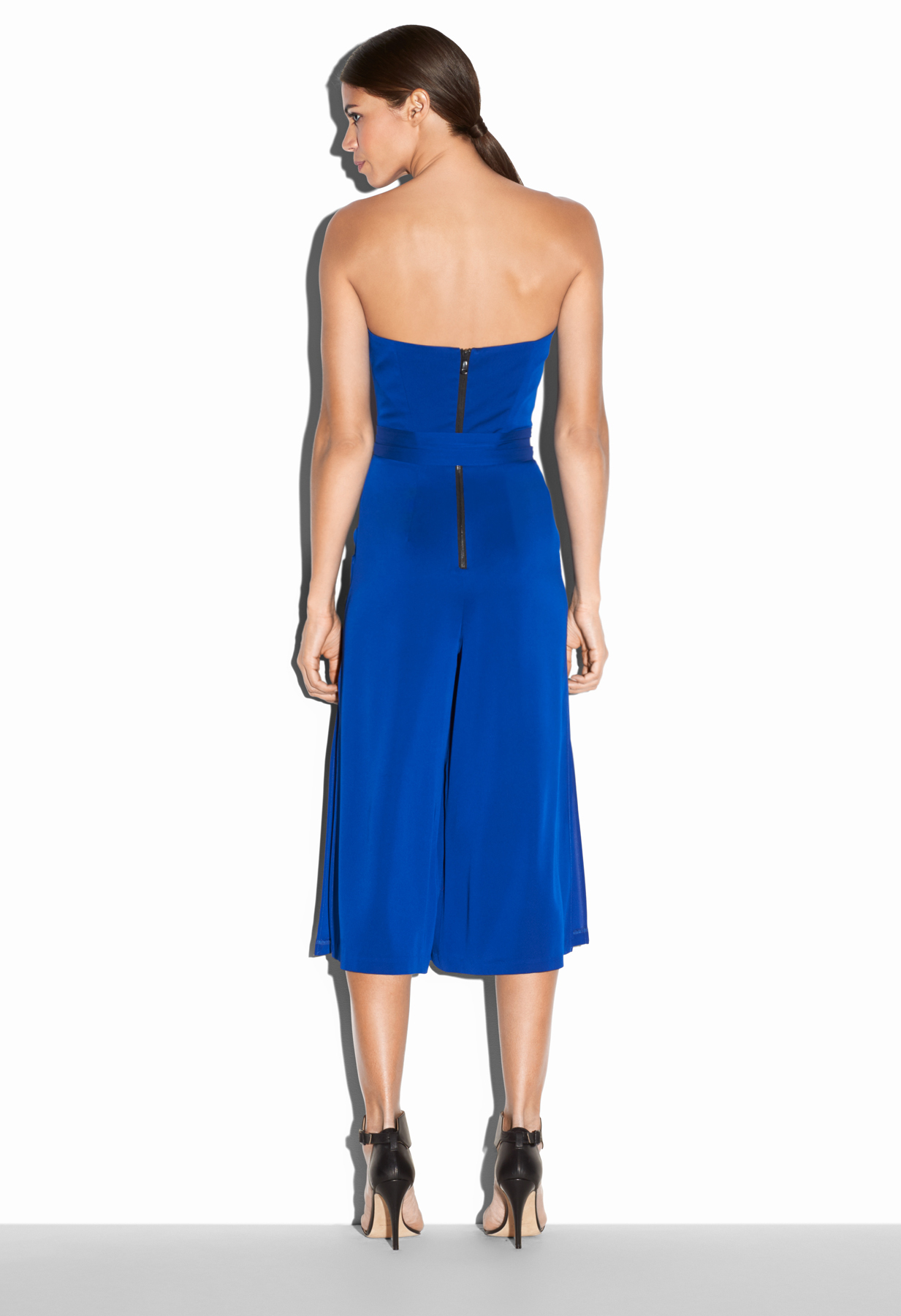 6b57a92521f7 Lyst - MILLY Stretch Silk Crepe Strapless Culotte Jumpsuit in Blue