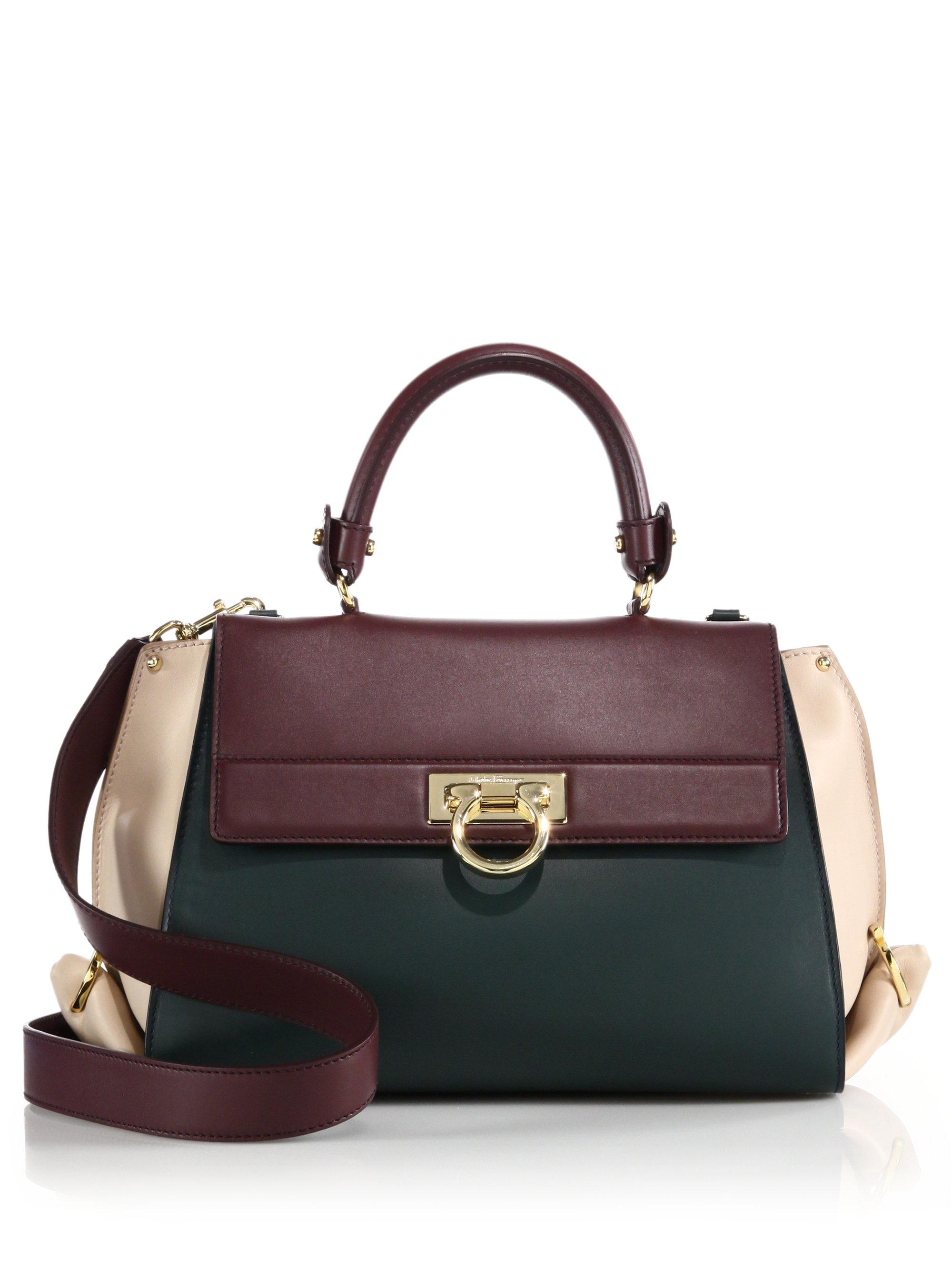 Lyst - Ferragamo Sofia Medium Colorblock Leather Satchel in Purple 748d6f1ca91bc