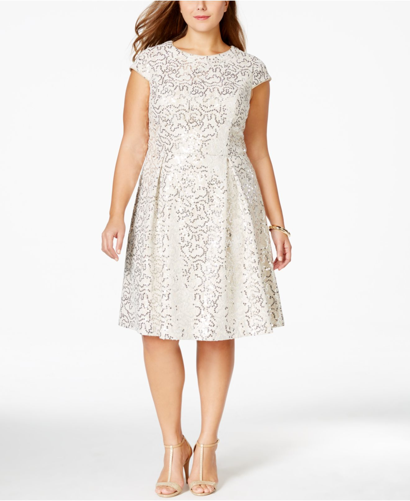 Lyst - Calvin klein Plus Size Sequined Flare Dress in White