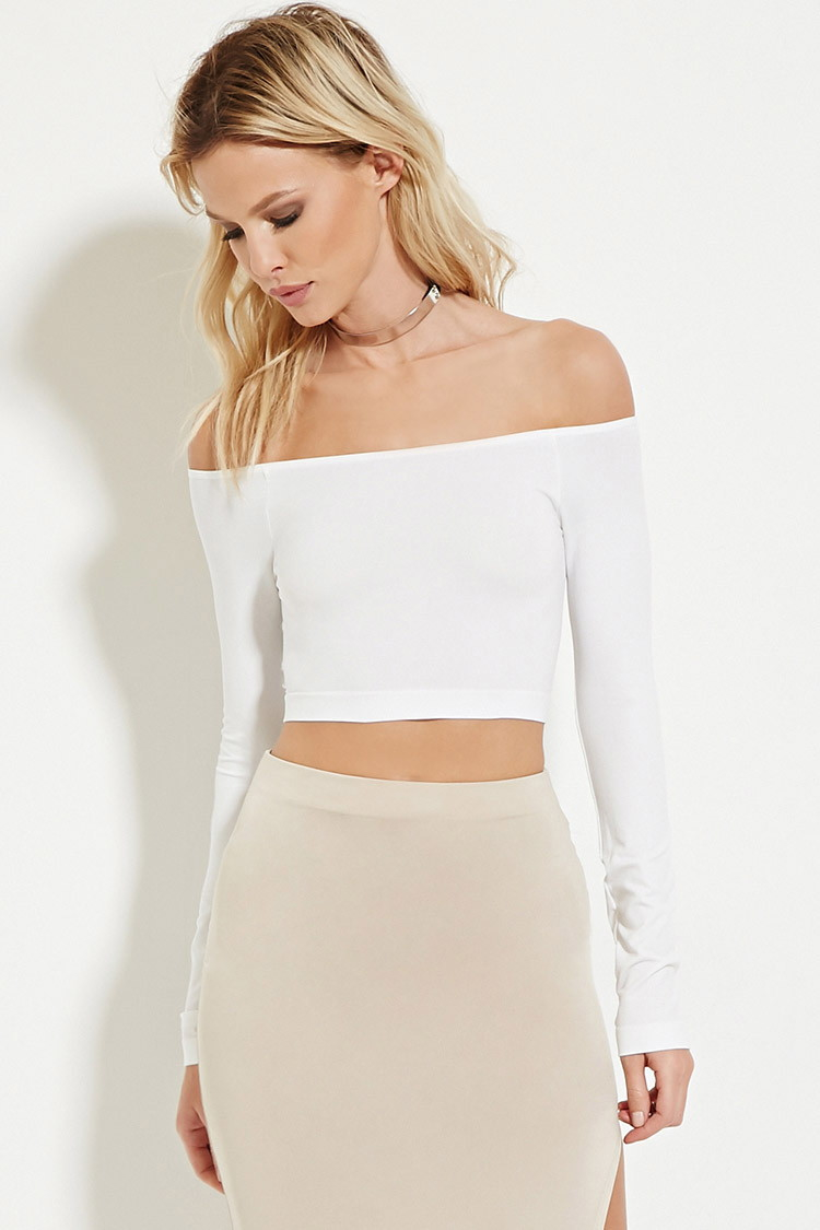 122a5401622467 Forever 21 Off-the-shoulder Crop Top in White - Lyst