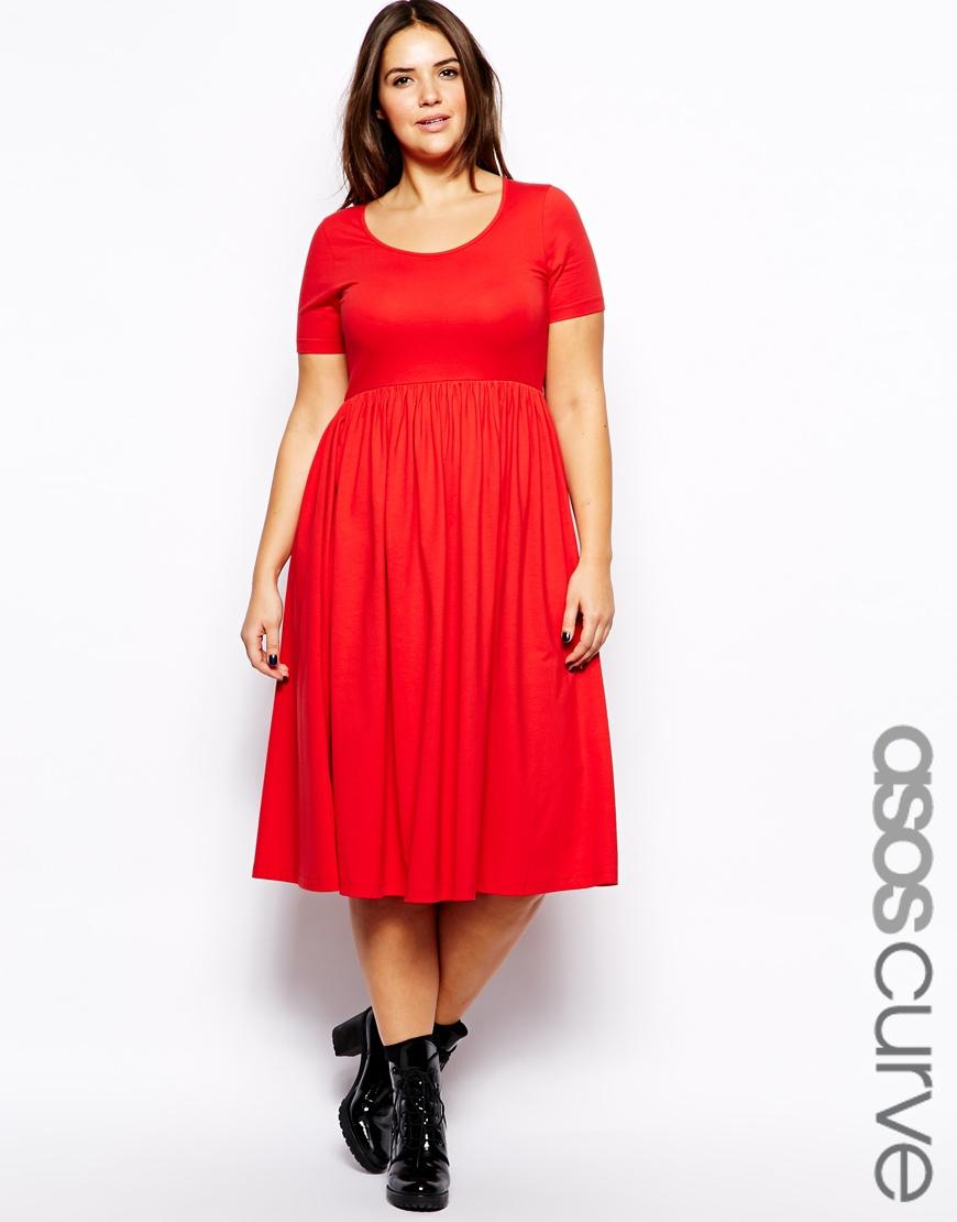 Asos Midi Dress with Skater Skirt in Red | Lyst