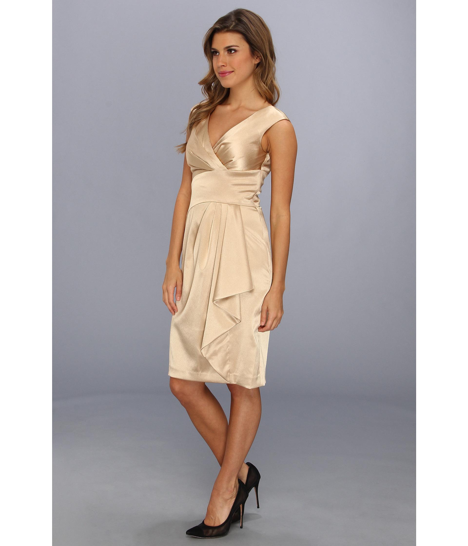 Lyst - Maggy London Luster Crepe Side Drape Dress in Metallic