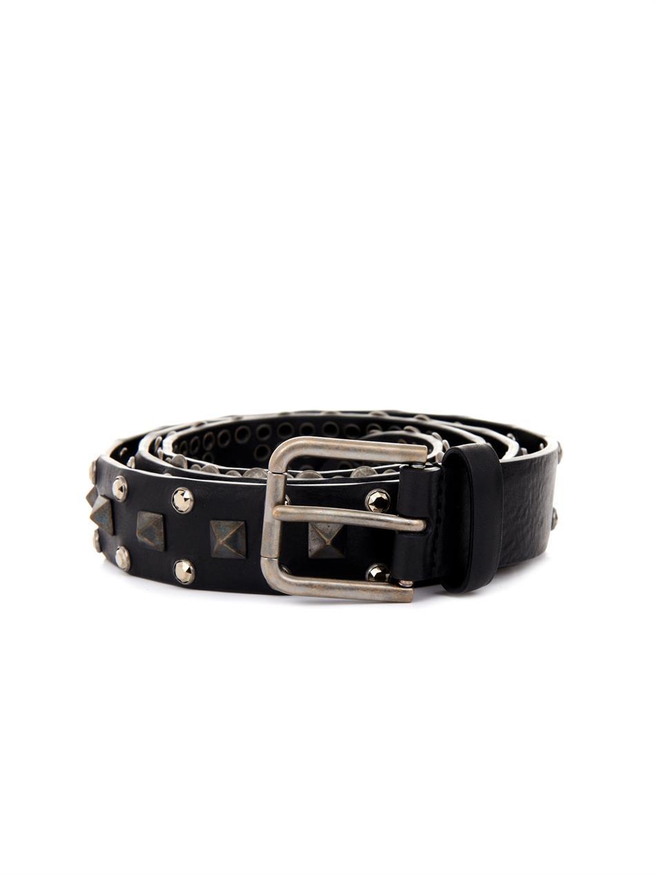 dolce gabbana studded leather belt in black for