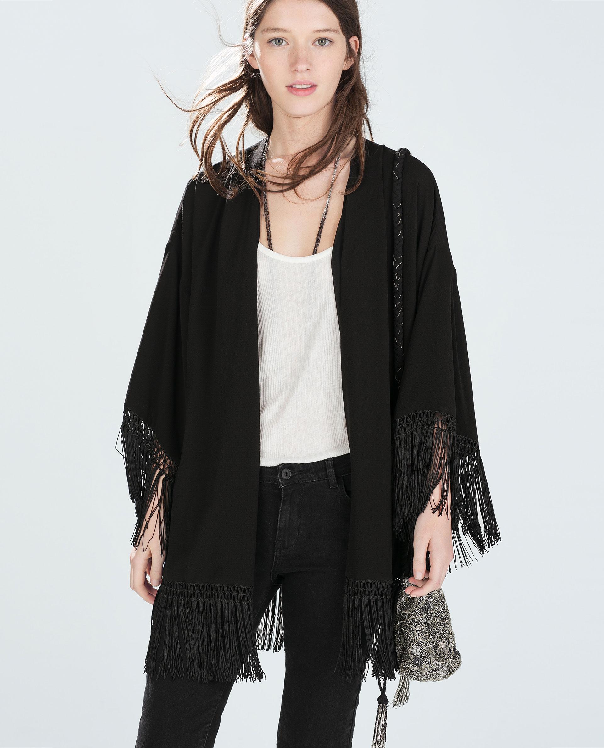 zara fringed kimono jacket in black lyst. Black Bedroom Furniture Sets. Home Design Ideas