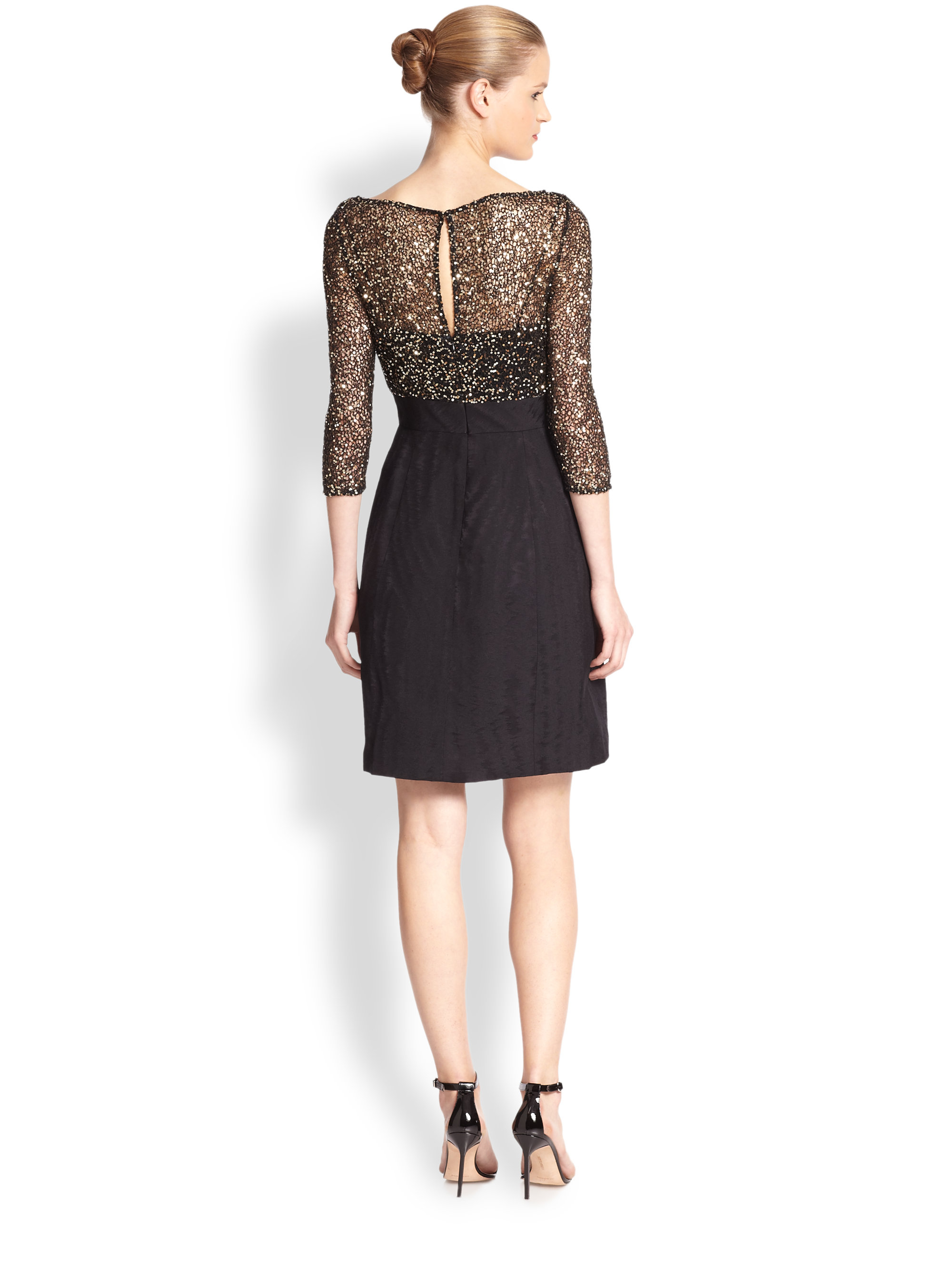 Lyst - Kay Unger Sequin-top Cocktail Dress in Black