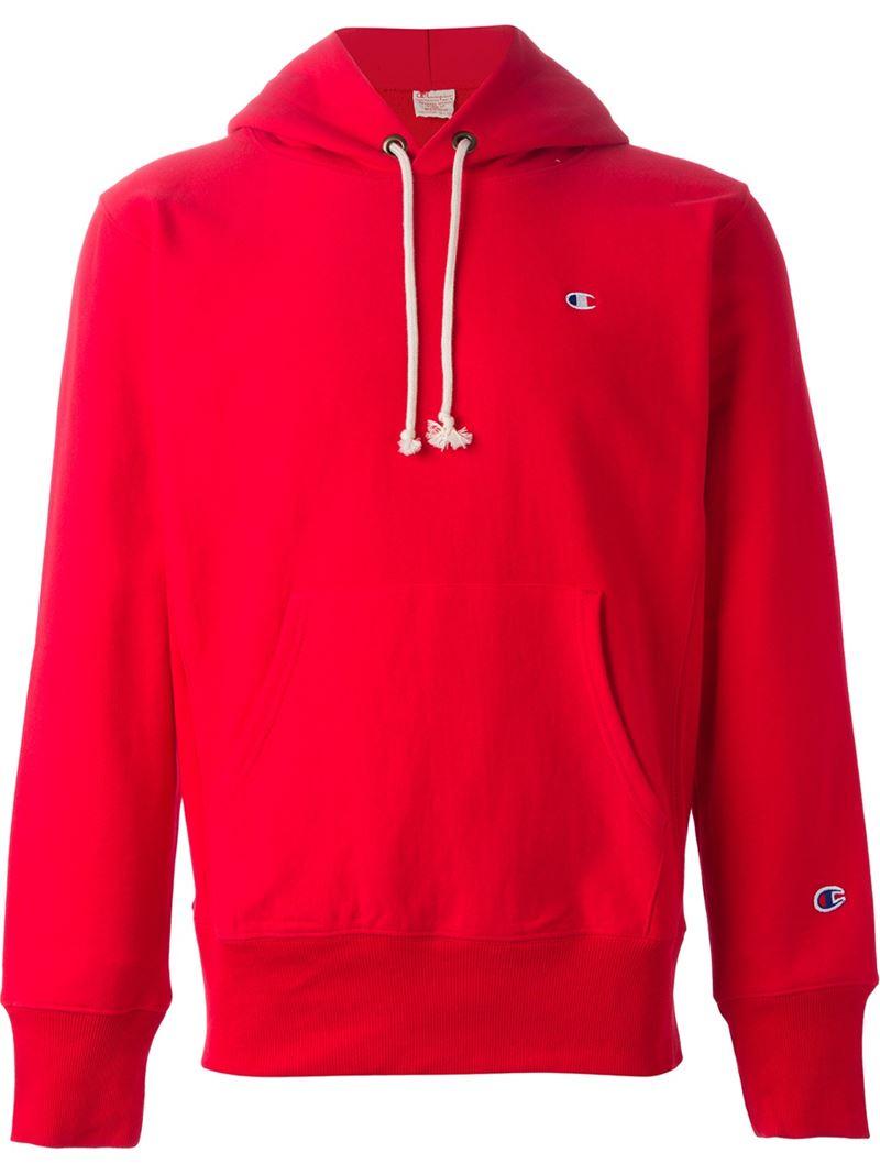 Lyst Champion Kangaroo Pocket Hoodie In Red For Men