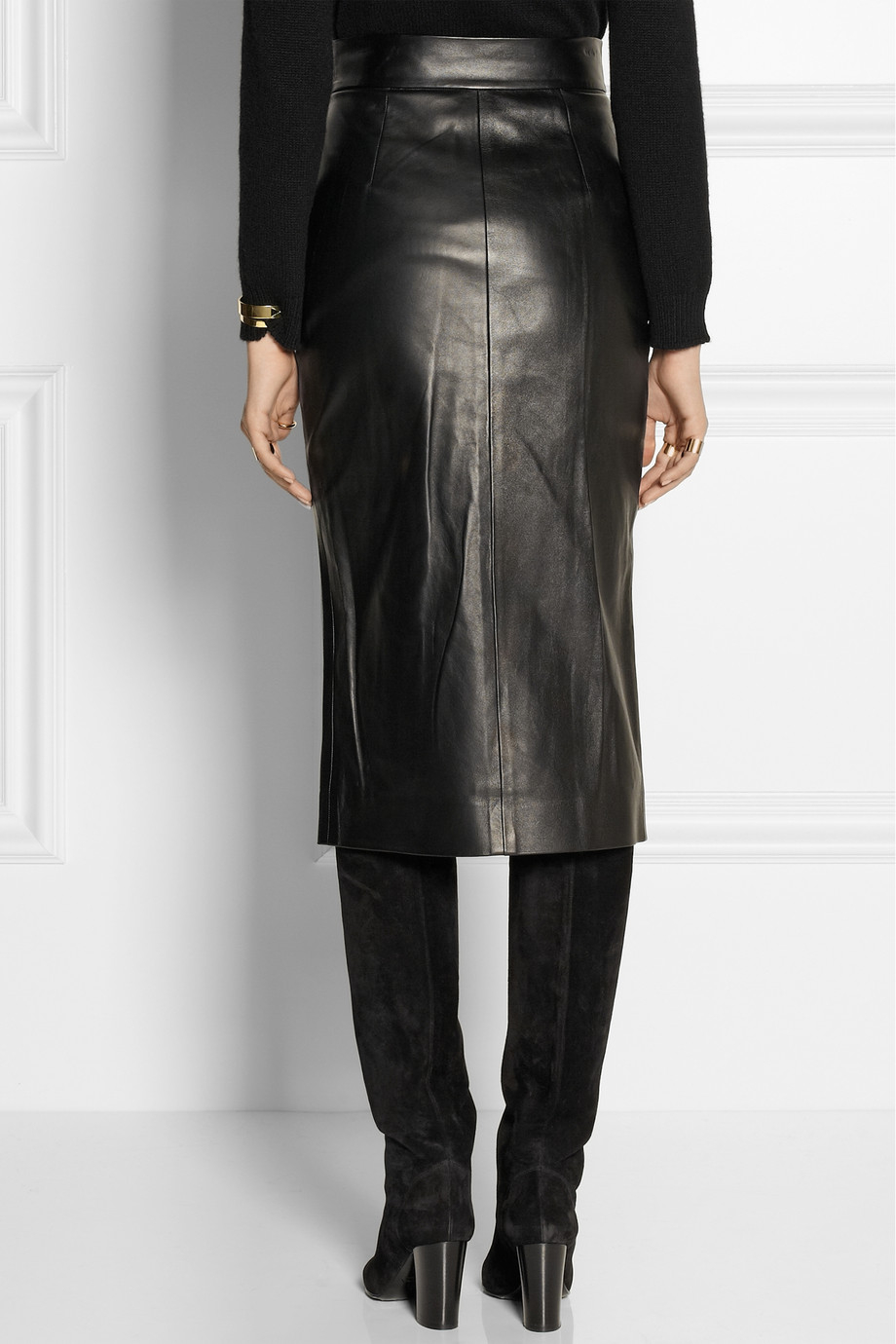 Tamara mellon Doublefaced Leather Wrap Skirt in Black | Lyst