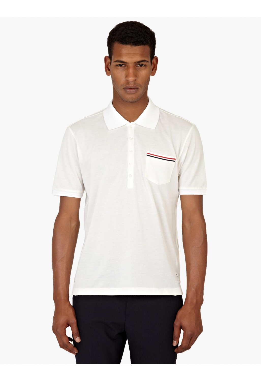 Thom browne white cotton polo shirt in white for men lyst for Thom browne white shirt