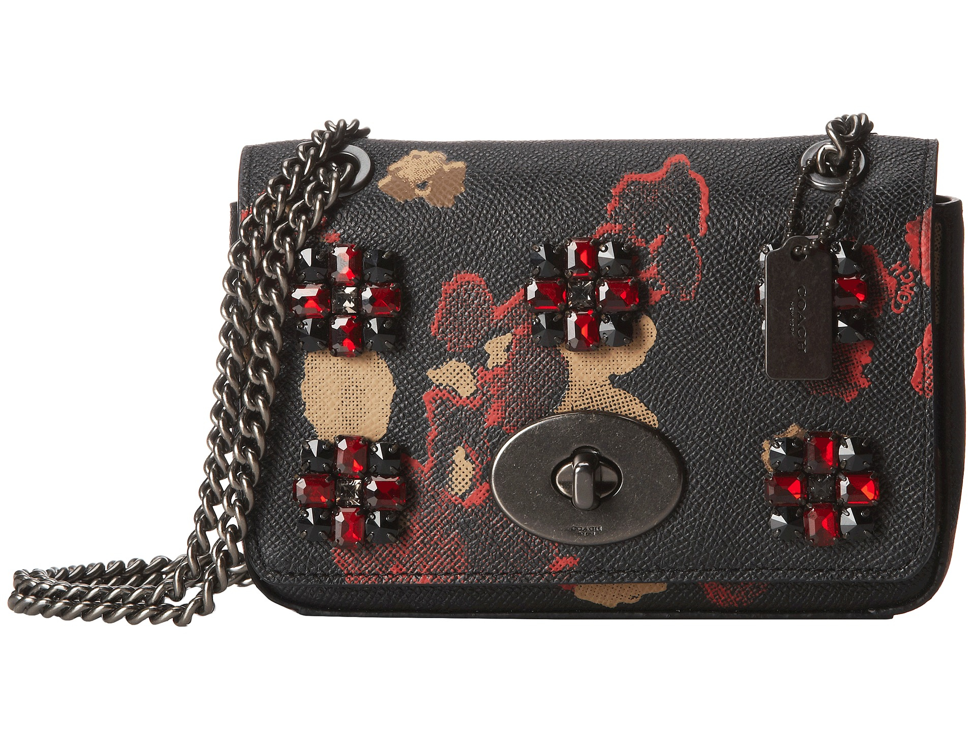 Coach Floral Jewels Embossed Mini Chain Crossbody In Black | Lyst
