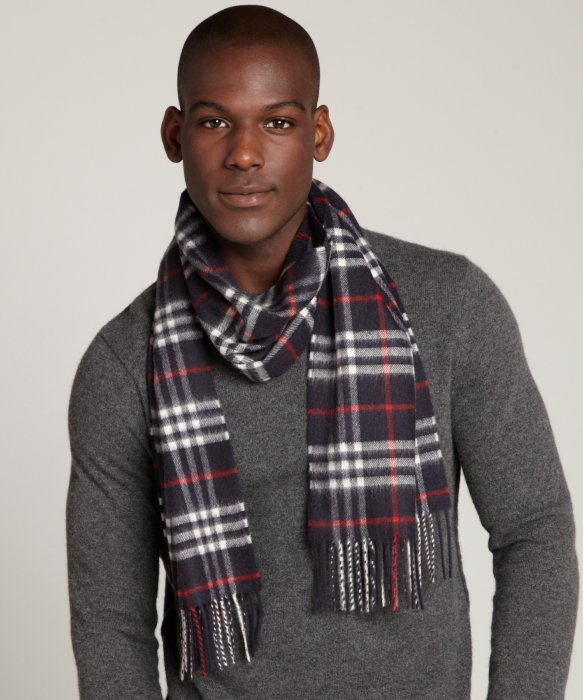Lyst Burberry Navy Check Cashmere Fringe Scarf in Blue