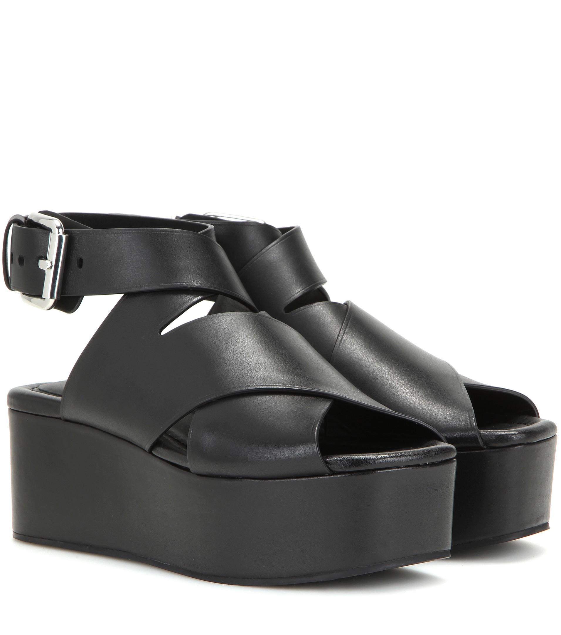 Lyst - Alexander Wang Rudy Leather Platform Sandals in Black