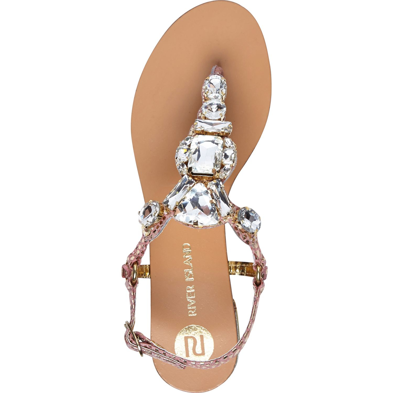 a2830dd52c9 River Island Gold Metallic Gem Stone T Bar Sandals in Metallic - Lyst