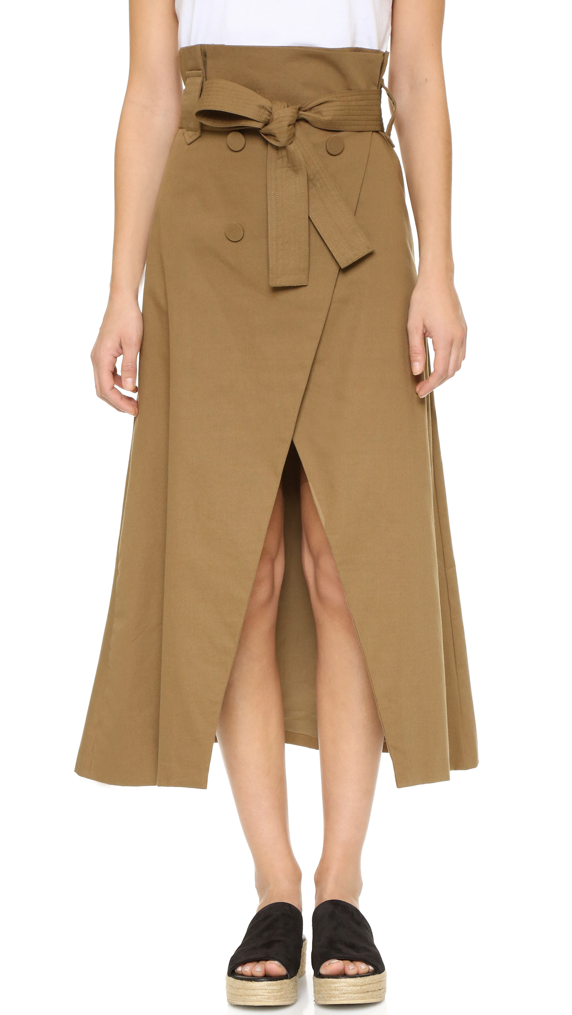 Shakuhachi joux trench wrap skirt in natural lyst
