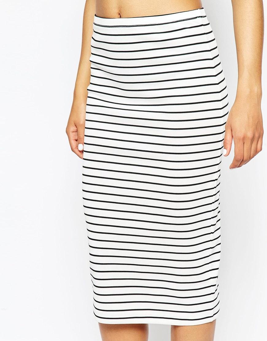 asos midi pencil skirt in stripe in black lyst