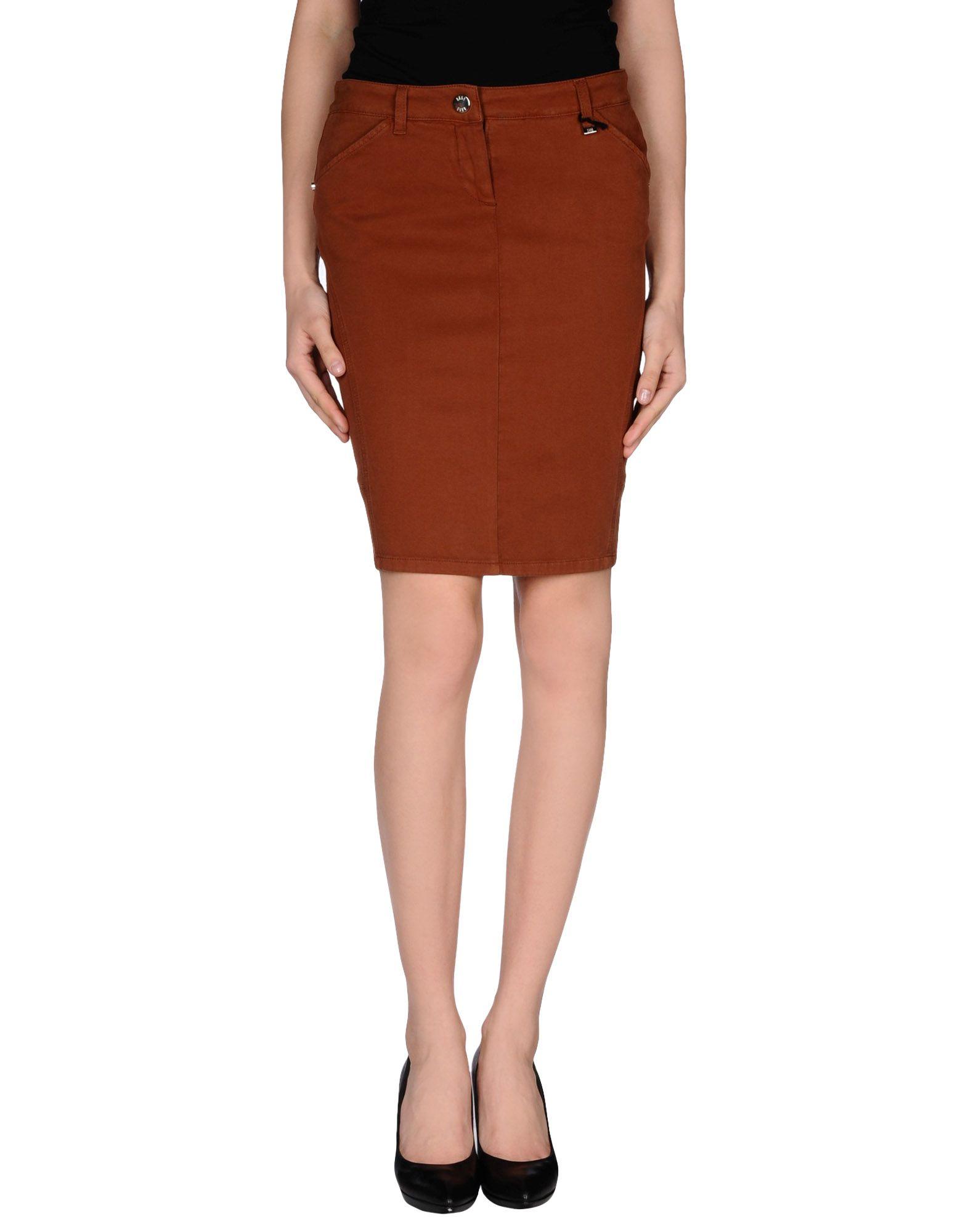 daks knee length skirt in brown save 73 lyst