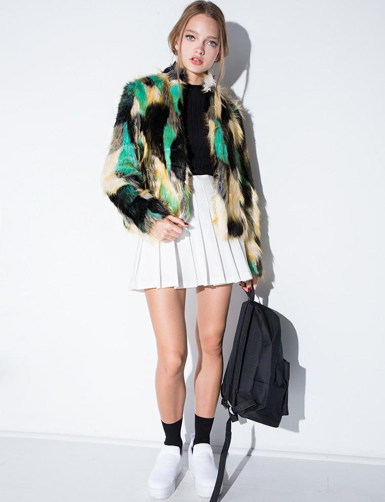 Pixie market Multi Color Faux Fur Coat