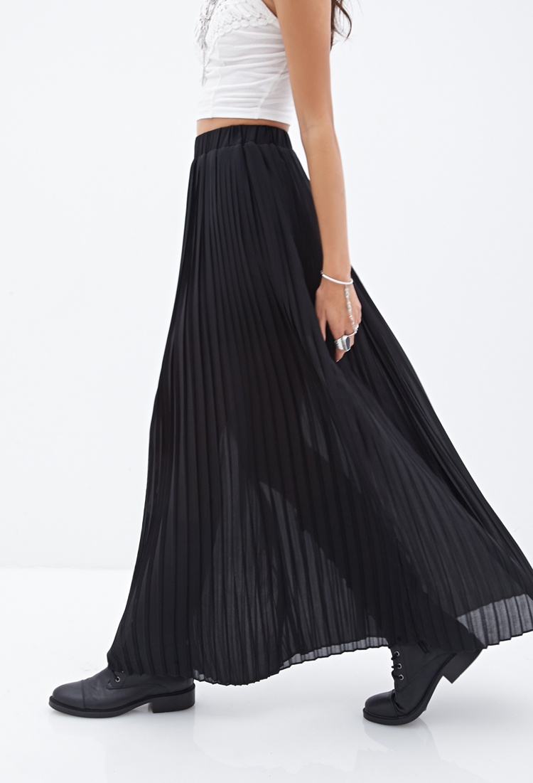 Lyst - Forever 21 Pleated Chiffon Maxi Skirt in Black