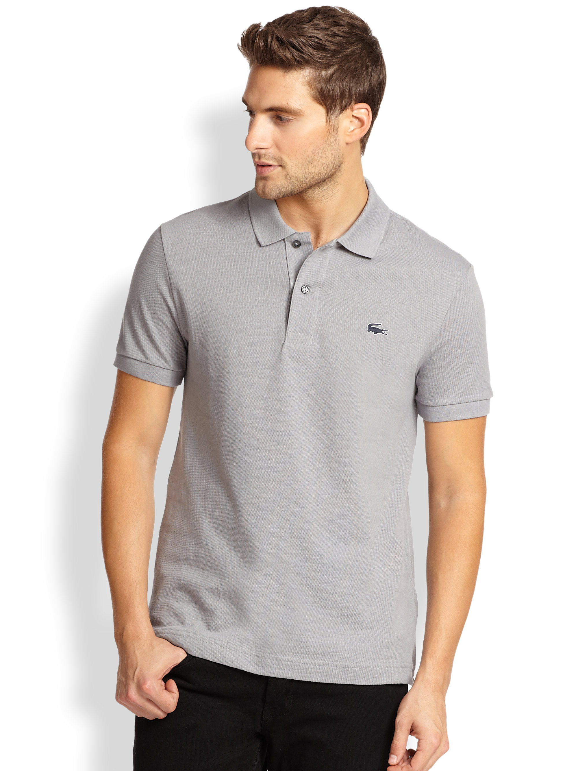 Lacoste men polo shirt stripe pique logo grey lacoste men for Lacoste stripe pique polo shirt