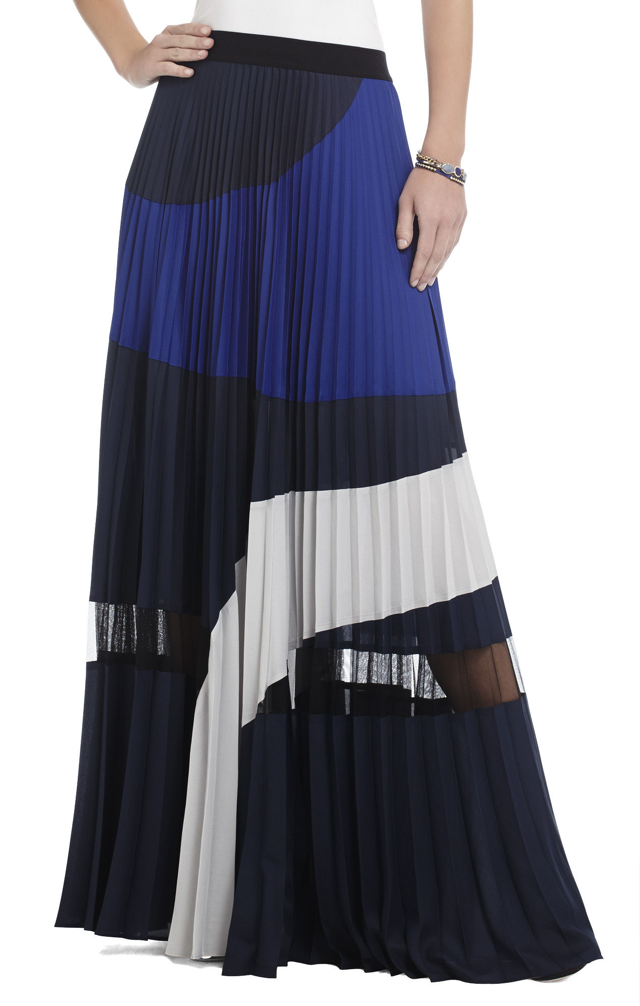 bcbgmaxazria pleated colorblocked maxi skirt in