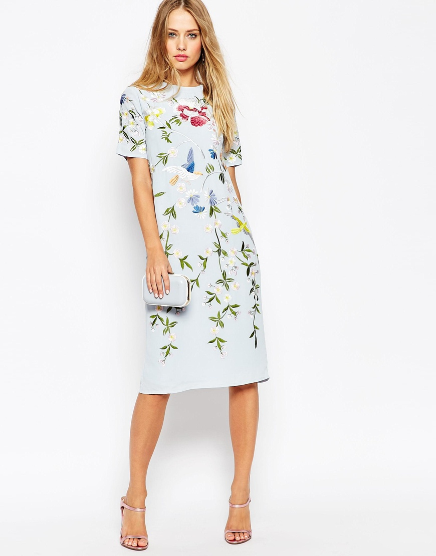 Lyst asos bird and floral embroidered shift dress in blue