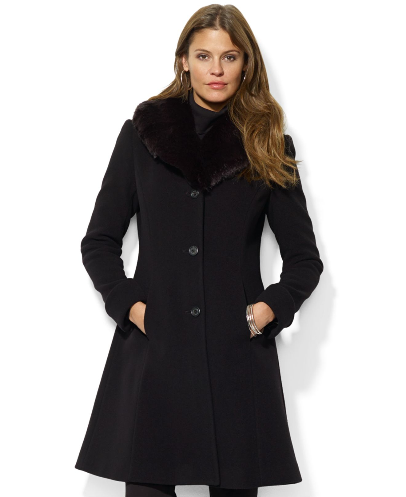 Lauren by ralph lauren Faux-Fur-Collar A-Line Coat in Black | Lyst