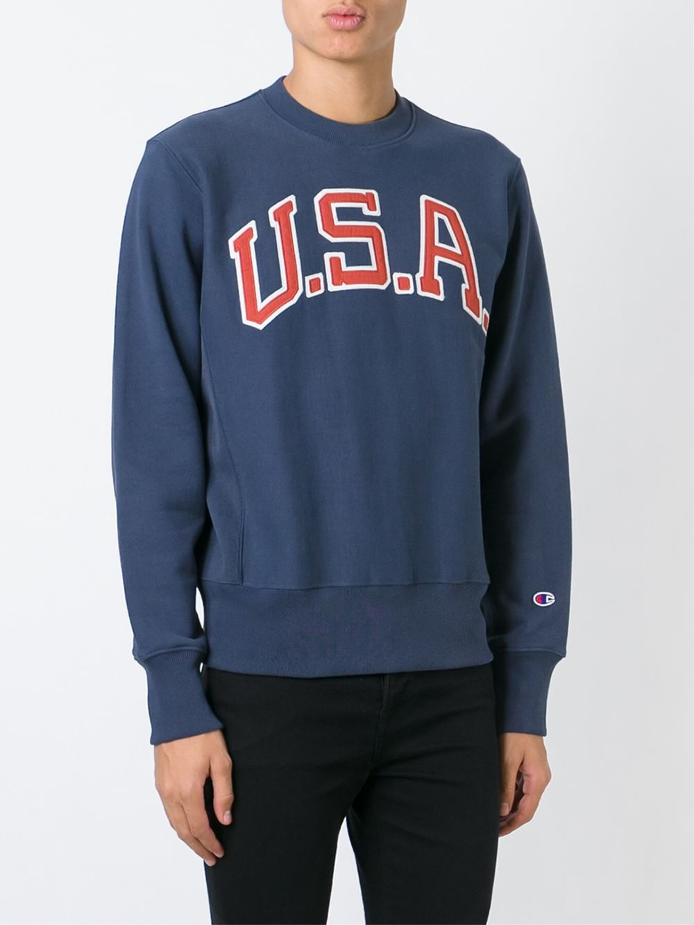 lyst  champion embroidered usa patch sweatshirt in blue