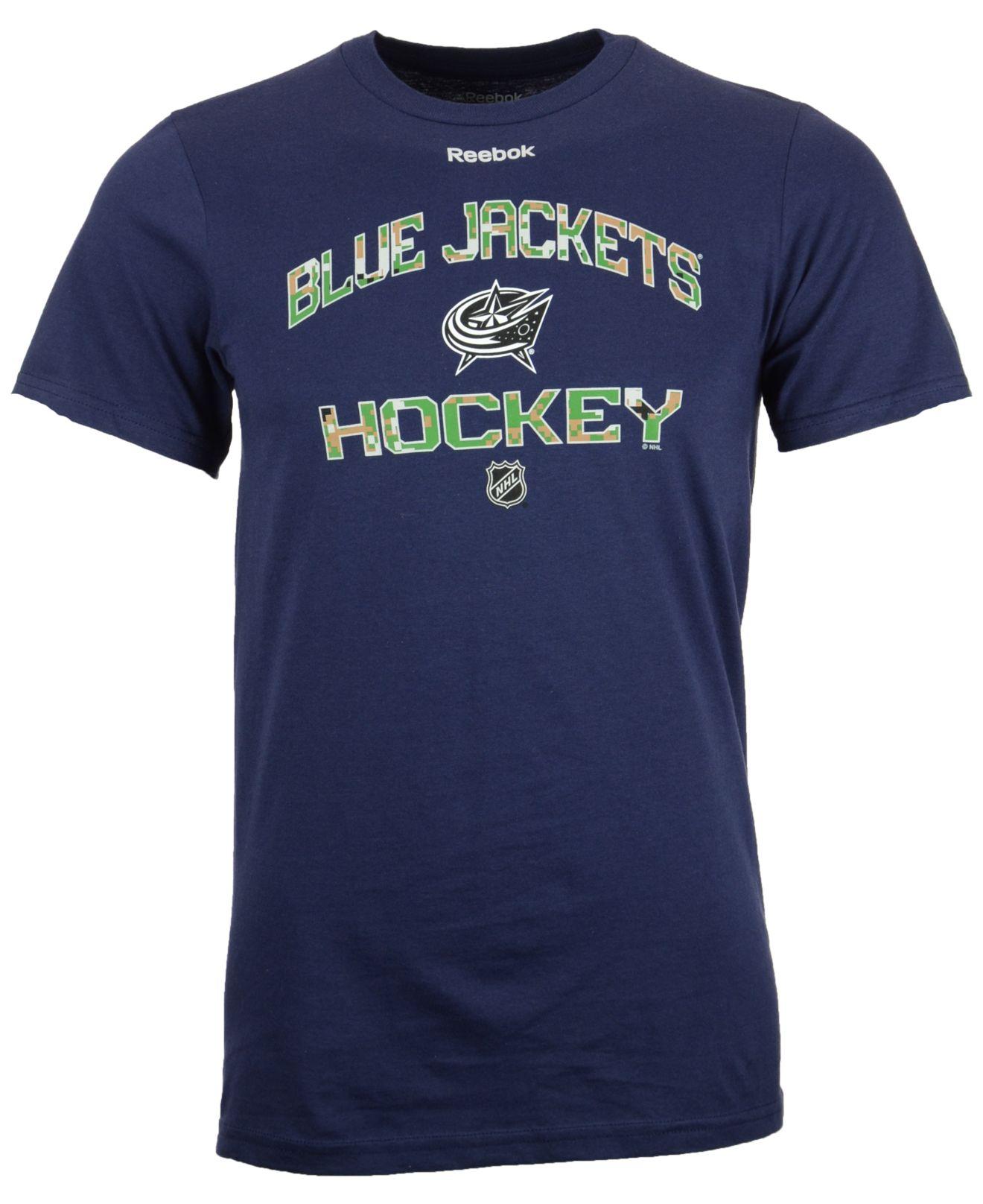 Reebok men 39 s short sleeve columbus blue jackets camo for Columbus ohio t shirt printing