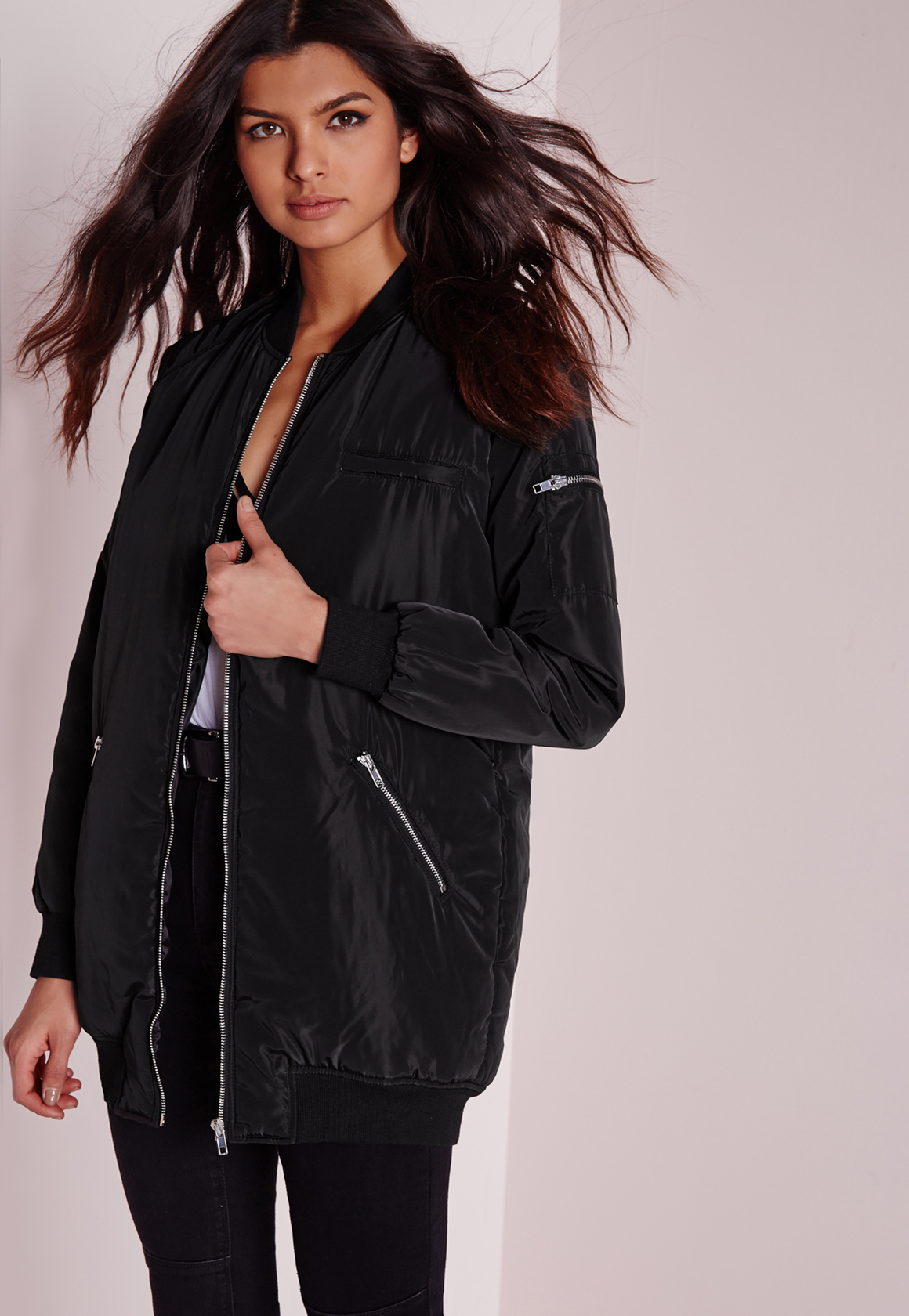 Missguided Longline Padded Bomber Jacket Black In Black Lyst
