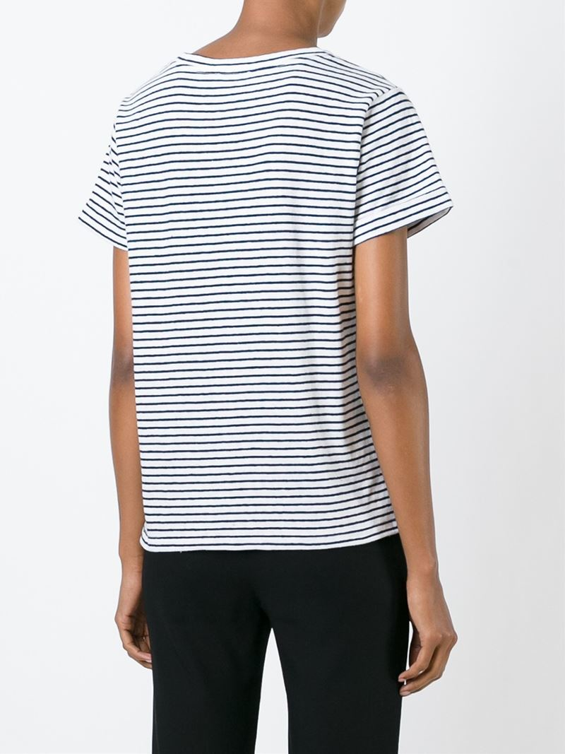 A p c striped t shirt in white lyst for Apc white t shirt