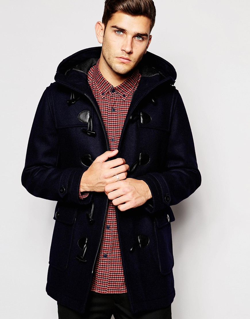 Esprit Wool Duffle Coat in Blue for Men   Lyst