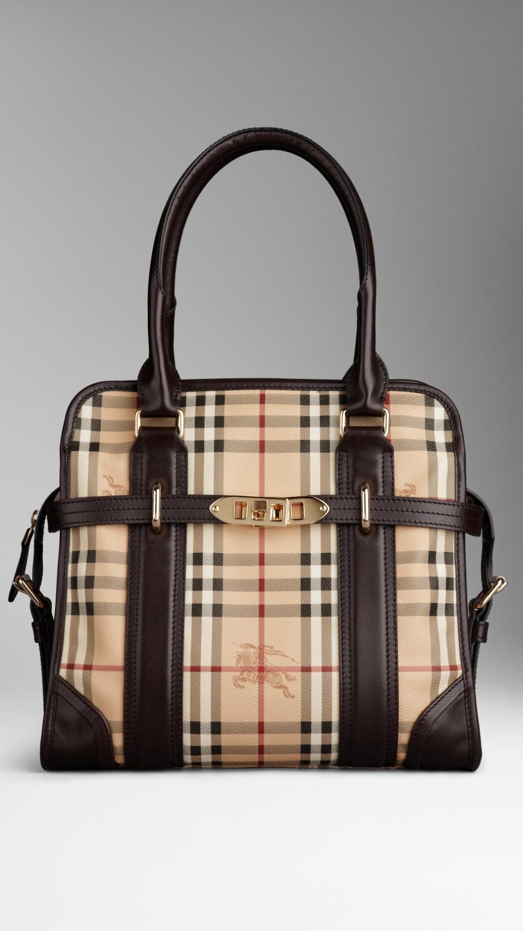 Lyst - Burberry Medium Haymarket Check Portrait Tote Bag in Natural 3ebb8fce14