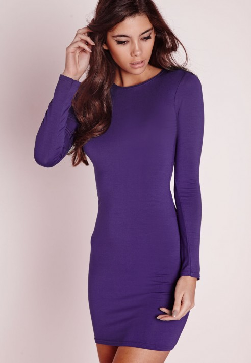 af83796ff90c Lyst - Missguided Long Sleeve Jersey Bodycon Dress Purple in Purple