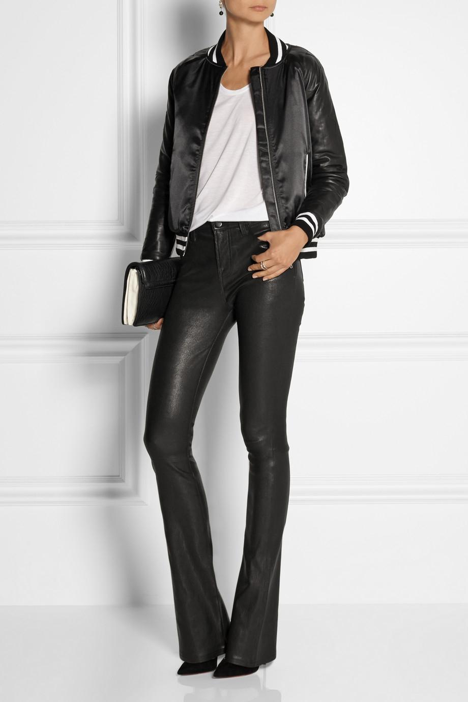 lyst j brand vivia stretch leather pants in black. Black Bedroom Furniture Sets. Home Design Ideas