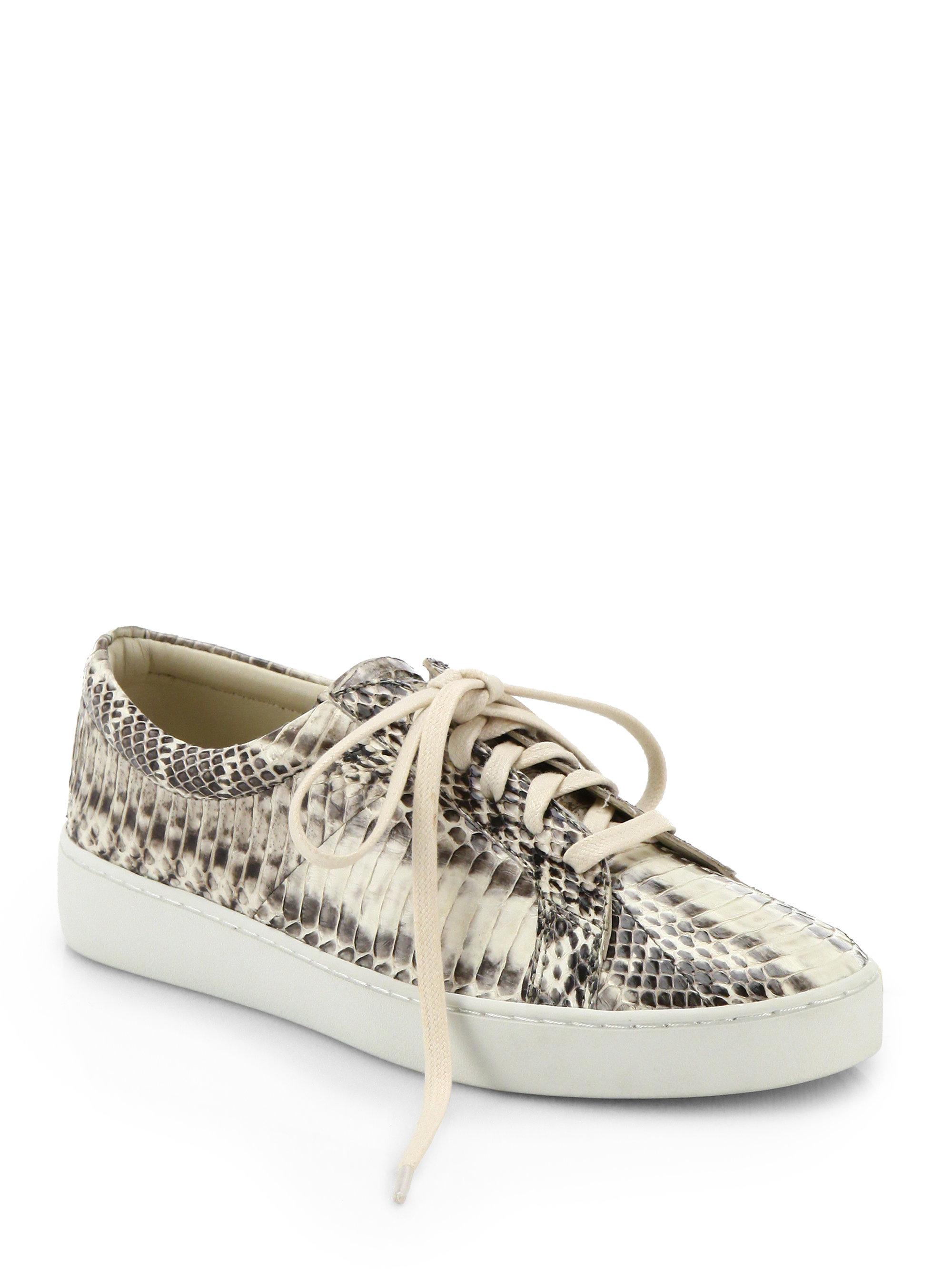 8c9545426f1 Michael Kors Valin Runway Snakeskin Lace-Up Sneakers in Natural - Lyst