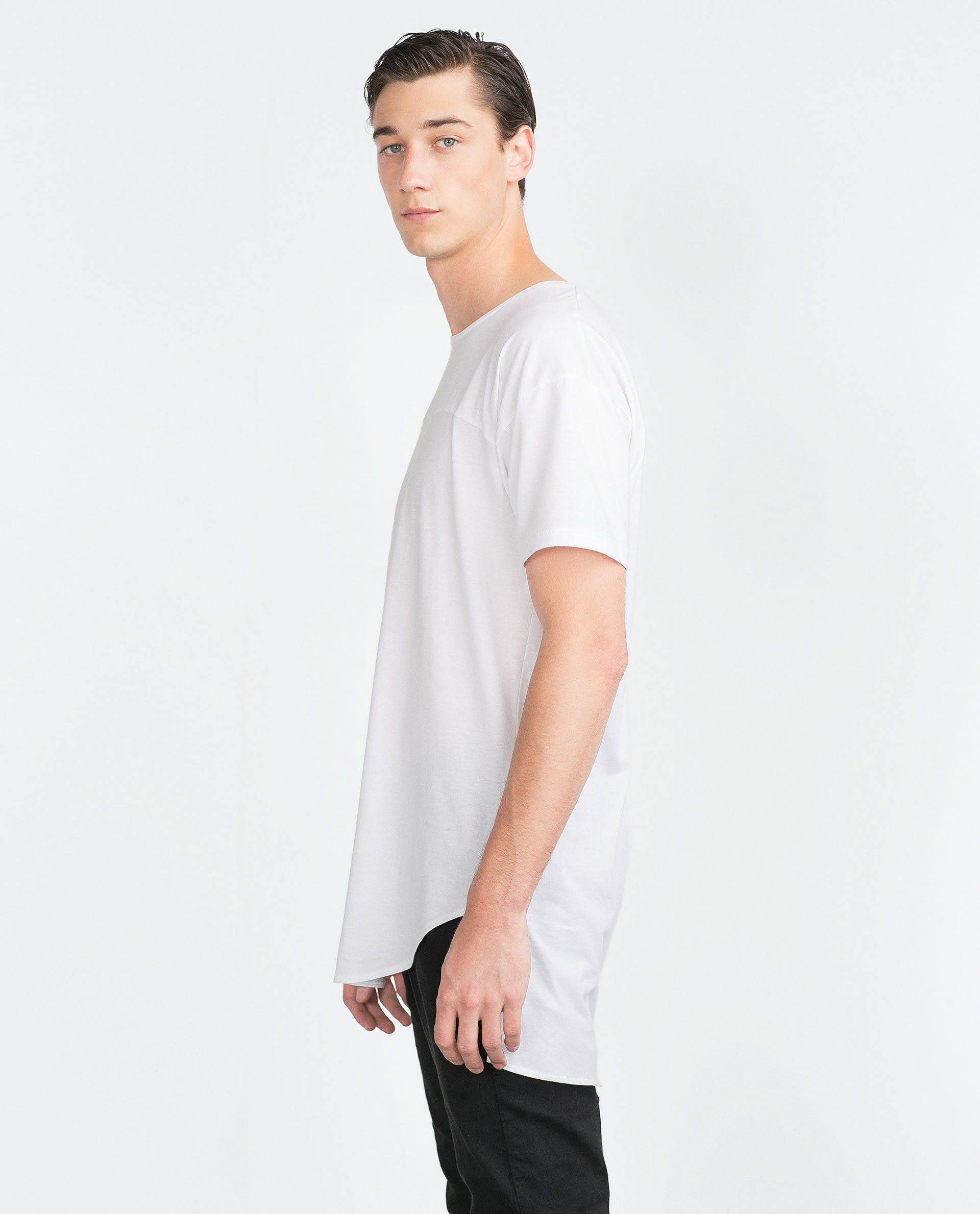 Zara Irregular Hem T Shirt In White For Men Lyst