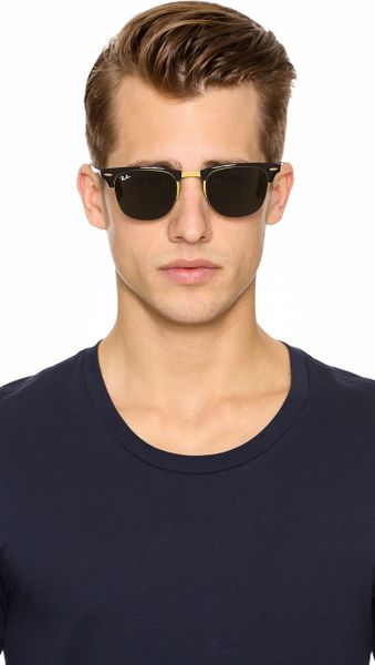 Ray-ban Clubmaster Sunglasses in Gold for Men (Blasted Gold) | Lyst