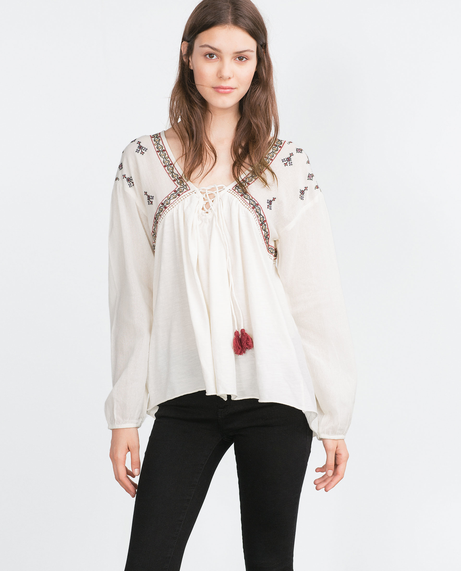 Zara Embroidered Top In Natural | Lyst