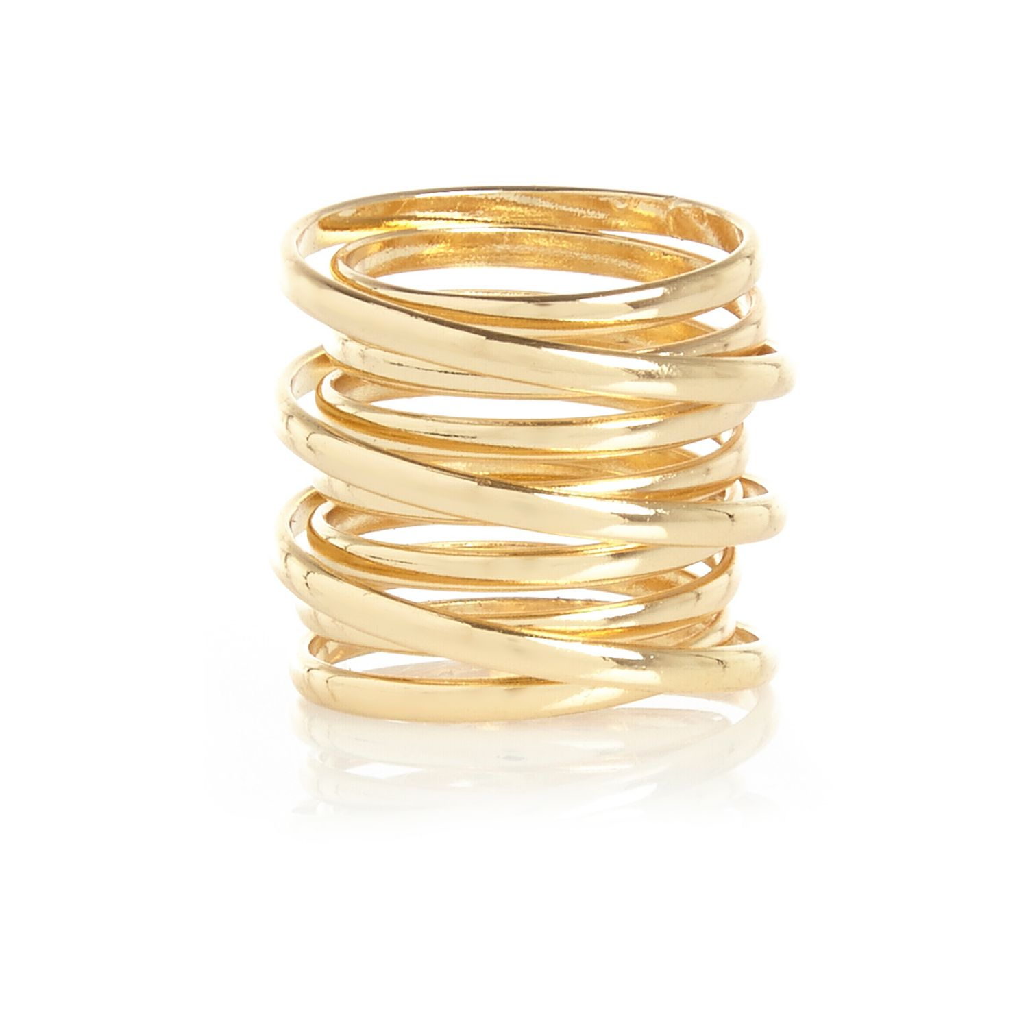 river island gold tone spiral ring in gold lyst